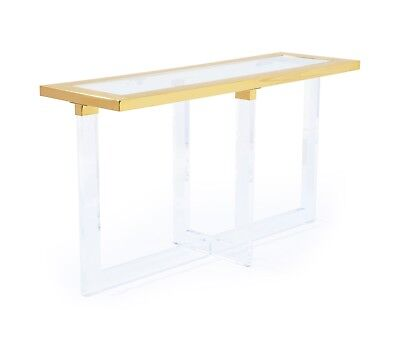 $1300 • Buy Gold Stainless Steel With Glass Top Console Table