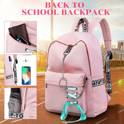 $22.78 • Buy Women Girls Waterproof Backpack School Shoulder Book Bag USB Port Laptop