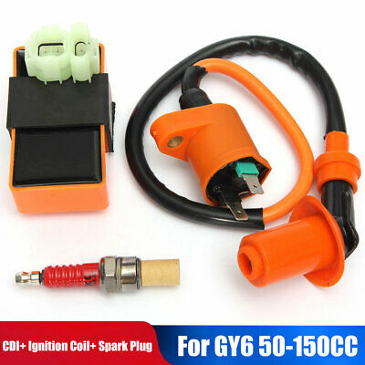 $8.99 • Buy Ignition Coil+Racing CDI Box+ Spark Plug For GY6 50 125 150cc Moped Scooter ATV