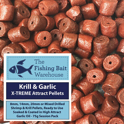 Krill & Garlic X-TREME Attract Pellets 75g - Pre Drilled 8mm, 14mm, 20mm, Mixed • 1.99£