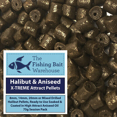 Halibut & Aniseed X-TREME Attract Pellets 75g - Pre Drilled 8mm, 14, 20mm, Mixed • 1.99£