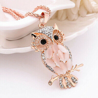 $4.89 • Buy Fashion Jewelry Crystal Opal Owl Pendant Chain Rose Gold Sweater Long Necklace