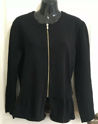 AU65 • Buy MASSIMO DUTTI Black Crepe Knit Peplum Jacket, Size L