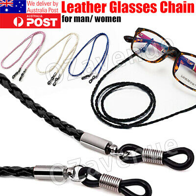 AU4.91 • Buy Leather Cord Sunglasses Reading Glasses Spectacles Eyeglass Holder Strap Chain