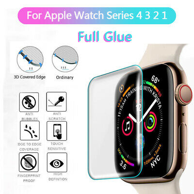 $ CDN1.73 • Buy For Apple Watch 4 3 2 1 Series 3D Tempered Glass Full Screen Protector Cover