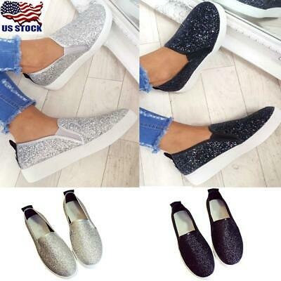 $10.99 • Buy Womens Slip On Sequins Glitter Flat Shoes Ladies Casual Sneakers Walking Shoes