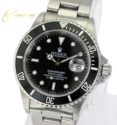 $ CDN11352.44 • Buy Authentic Rolex Watch Men's Submariner 16610 Steel 40mm Black Dial With Papers