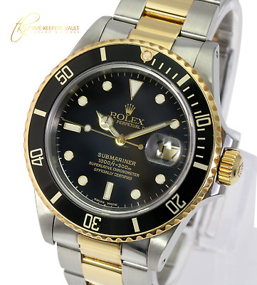$ CDN12337.76 • Buy Authentic Rolex Submariner 16803 40mm Steel Yellow Gold Black Automatic Watch