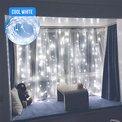 $12.99 • Buy 300LED White Wedding Curtain String Lights USB Fairy Lamp With Remote Control US