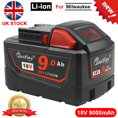 18V 9.0Ah High Capacity Li-ion Battery Fit For Milwaukee M18 M18B9 48-11-1890 • 45.89£