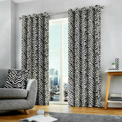 HEAVY COTTON ZEBRA EYELET LINED CURTAINS.5 Sizes.SAVE £££'S.NEXT DAY DISPATCH • 32.76£