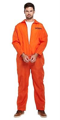 Adults Classic Orange Prisoner Jumpsuit Prison Inmate Fancy Dress Costume Outfit • 7.99£
