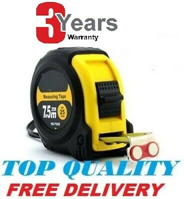 7.5m Retractable Metal Tape Measure Powergriplock Metric Imperial Measuring 25ft • 3.49£