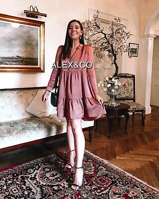 $39 • Buy Zara Woman Short Frilly Dress A-line Flowing Ruffles Brown Xs-xl 4886/247