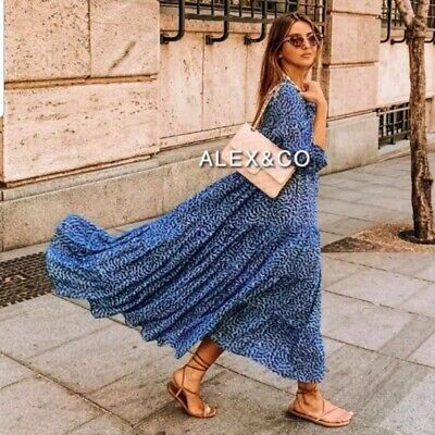 $59 • Buy Zara New Long Printed Dress Midi Blue Flowing Smock Loose Button S,m,l 4479/240