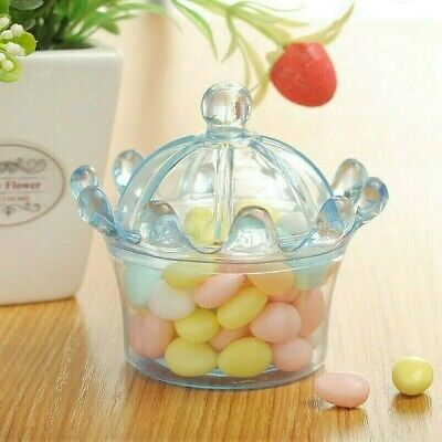 £10.78 • Buy 12 X Crown Shape Sweet Candy Jars Plastic Transparent Wedding Party Gift Box