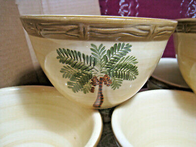 $15.50 • Buy 7 Pcs Home Trends West Palm Brown Bamboo Border Coupe Cereal Bowls
