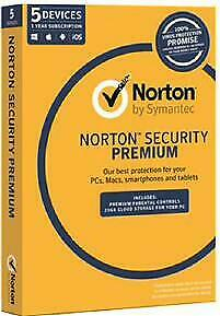 AU48.16 • Buy Symantec Norton Security Premium 3.0 5 Devices 1 Year Subscription Oem Cd Med...