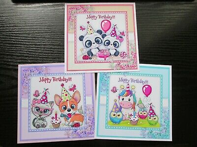 NEW==== 3 X Cute Animals Happy Birthday Card Toppers & Sentiments • 1.50£