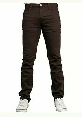 +Mens ZE ENZO 989 BURGUNDY SKINNY STRETCH JEANS CHINO'S 36S, 38S,40R :5 • 8.99£