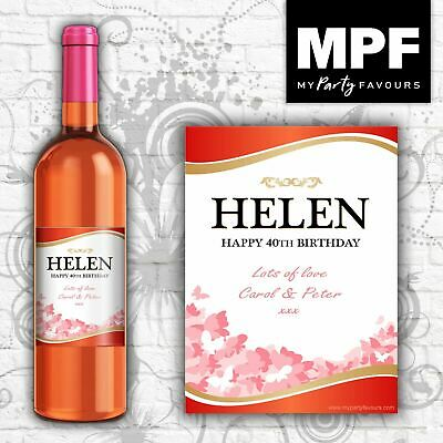 Personalised Red/Rose Wine Bottle Label - Birthday Gift/Any Occasion/Any Name • 2.95£