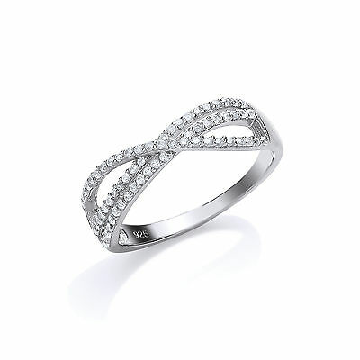 Sterling Silver White Gold Plated Crossover Gemset Ring  Size L - R • 42.95£