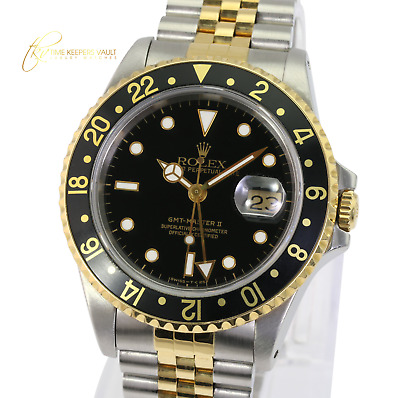 $ CDN13416.17 • Buy Authentic Rolex Mens GMT-Master II 16713  Black Dial Jubilee Band 40mm Watch