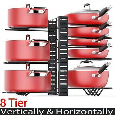 8 Tier Kitchen Pan Stand Saucepan Pot Rack Holder Chrome New By Home Discount • 9.19£