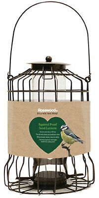 Rosewood Squirrel Proof Lantern Shaped Bird Feeder, Easy To Fill & Secure Cap • 10.99£