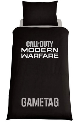 CALL OF DUTY MODERN WARFARE Black Duvet Cover/Bedding Set Personalised Xbox Ps4 • 32.99£