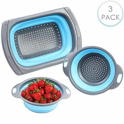 Kitchen Collapsible Silicon Colander Set Foldable Tools Fruit Vegetable Strainer • 13.99£