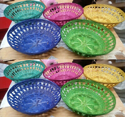 Coloured Small Round Wicker Baskets Fruit Snacks Storage Bamboo Gift Hampers • 8.99£