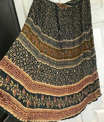 NEW INDIAN COTTON LONG SKIRT FREE SIZE BOHEMIAN  ETHNIC Hippy Boho DRAWSTRING • 5.99£