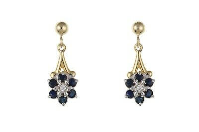 AU490.13 • Buy Sapphire And Diamond Earrings Yellow Gold Cluster Drop Natural Stones Hallmarked