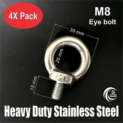 AU16.95 • Buy 4X M8 EYE BOLT Heavy Duty STAINLESS STEEL Lifting Roof Rack Boat Shade Sail 8mm