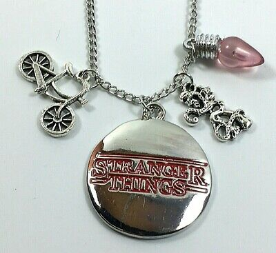 Stranger Things Necklace Lightbulb Bike Demogorgon Charm Pendant Jewellery UK • 3.99£