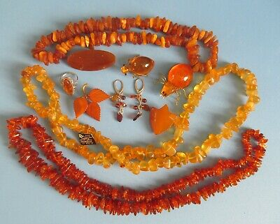 $ CDN129.99 • Buy Lot Of Vintage Amber Necklaces, Brooches, Ear Rings.