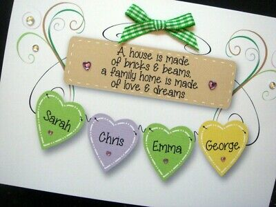 Handmade Personalised 'Family Home Hearts' New Home Card (UP TO 6 NAMES) • 4.30£