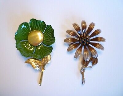 $ CDN25 • Buy Vintage Enamel Flower Brooches - Lot Of 2 - One Signed Hedy