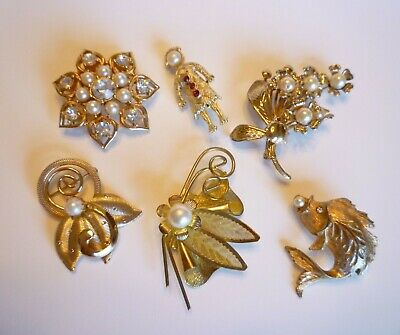 $ CDN36 • Buy Vintage Pearl Brooch Lot Of 6 - One Signed Sarah Coventry