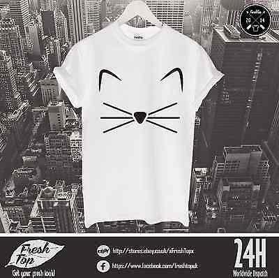£9.99 • Buy Kitty T Shirt Kitten Feline Meow Crazy Grumpy Cat Pussy Logo Face Love Pet