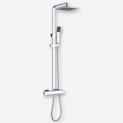 Thermostatic Shower Mixer Square Chrome Bathroom Exposed Twin Head Valve Set • 87.55£