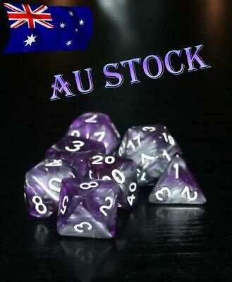 AU10.98 • Buy Dice 7 Pce Set D & D Polyhedral Purple & Silver Pathfinder Dungeons & Dragons