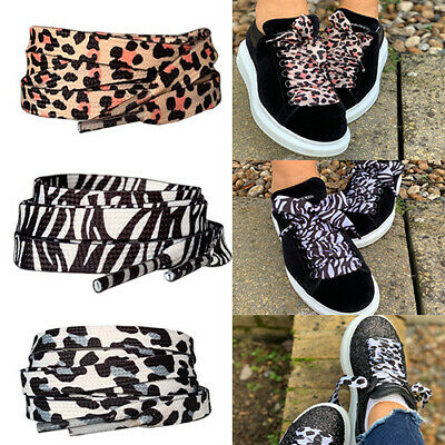 £3.99 • Buy Snow Leopard Zebra Animal Print Flat Ribbon Shoe Laces For Trainers Nike Adidas