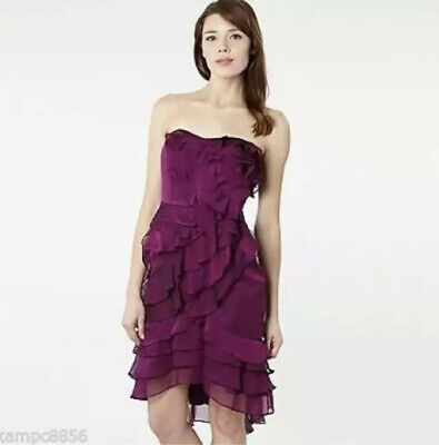 Pearce II Fionda Purple Ruffle Cocktail Evening Prom Dress Size 12 • 19.99£