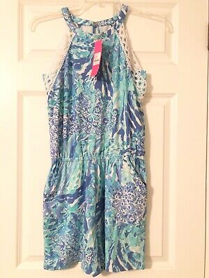 $49 • Buy Lilly Pulitzer Lala Halter Romper - Blue Haven  Hey Hey Soleil