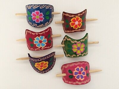 $17.99 • Buy Leather Hair Barrettes. Hand Tooled. Lot Of 6