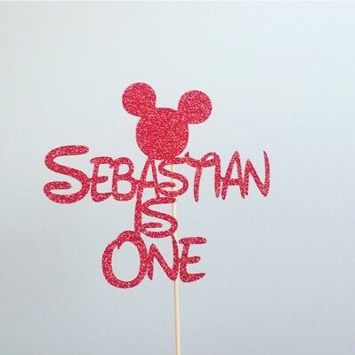 AU17 • Buy Personalised Mickey Mouse Cake Topper Birthday 1st One 2nd Two Add Any Name &Age