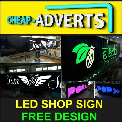 FRONT SHOP SIGN TRAY WITH LED - 100cm X 50cm - GREAT QUALITY + FREE DESIGN • 135£