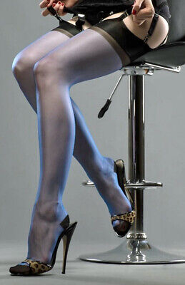 £9.95 • Buy GIO RHT Stockings / Nylons - Electric Blue / Black Contrast - Imperfects NYLONZ